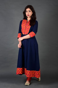 Navy Rani Leheriya Anarkali Churidar and Dupatta Set