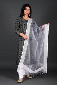 Black Script Salwar Kurta Set with Dupatta