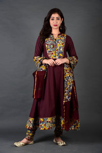 Wine Yellow Kalamkari Anarkali Churidar and Dupatta Set