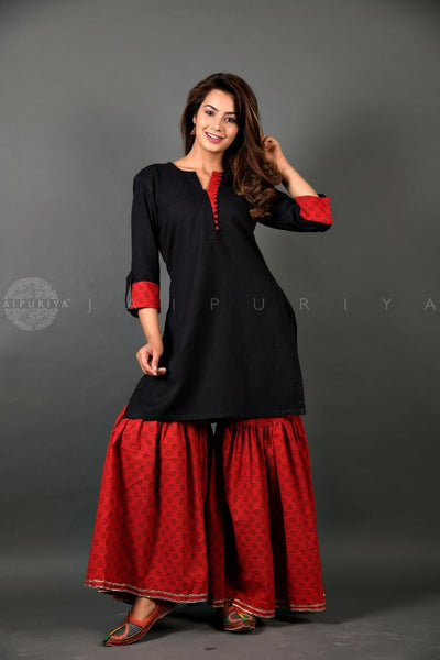 Black Red Booti Gharara Set