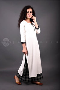 Ivory Black Checks Kurta