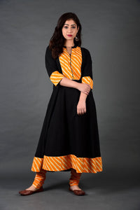 Black Yellow Leheriya Anarkali