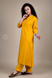 Mustard Cotton Flex Collar Kurta