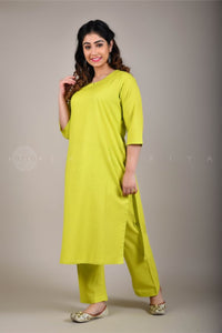 Lime Kurta and Pant Suit