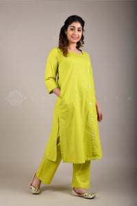 Lime Green Side Button Kurta