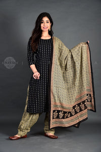 Black Paisley Booti Salwar Suit with Dupatta