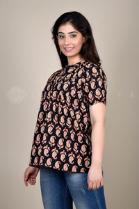 Black Red Paisley Top