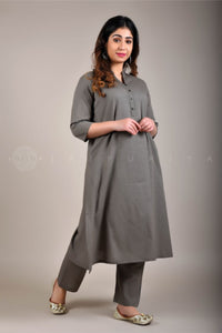 Ash Grey Collar Kurta and Pant Suit