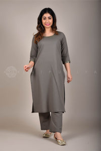 Ash Grey Mirror Work Kurta