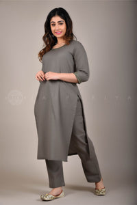 Ash Grey Mirror Work Kurta Pant Suit