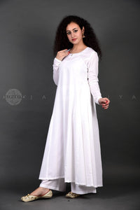 White Anarkali Palazzo Set with Black Bandhej Gota Dupatta