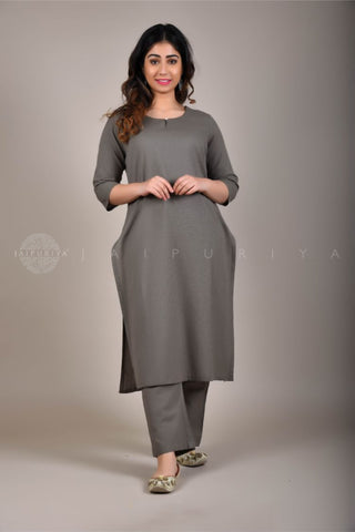 White Khadi Kurta and Indigo Foliage Pant Suit
