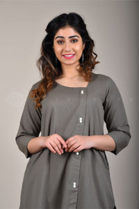 Ash Grey Side Buttons Kurta