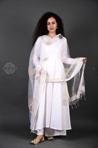 White Anarkali Palazzo Set with White Dupatta