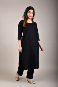 Black Mirror Work Kurta Pant Suit