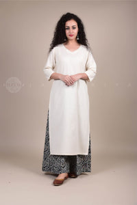 Ivory V-Neck Kurta and Grey Damask Print Palazzo Set