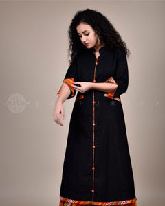 Black Orange Leheriya Cuff Kurta
