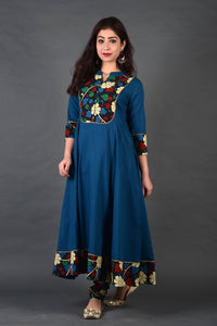 Peacock Blue Black Floral Kalamkari Anarkali