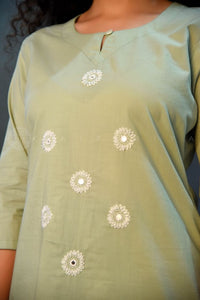 Mint Hand Embroidered Kurta Palazzo Set with Bandhej Gota Dupatta