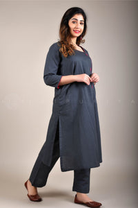 Grey Rani Side Buttons Kurta