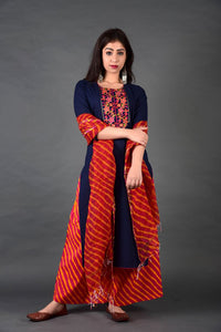 Navy Rani Yoke Kurta Leheriya Palazzo Set with Dupatta