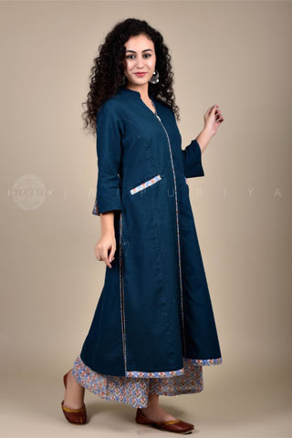 Green Parrot Button Kurta