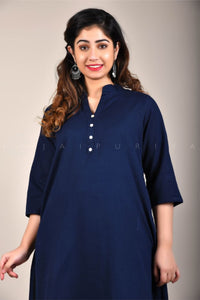 Navy Cotton Flex Collar Kurta