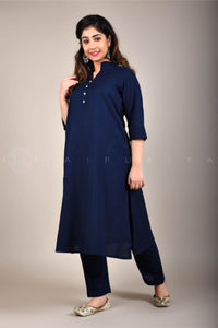 Basic Dark Blue Collar Kurta