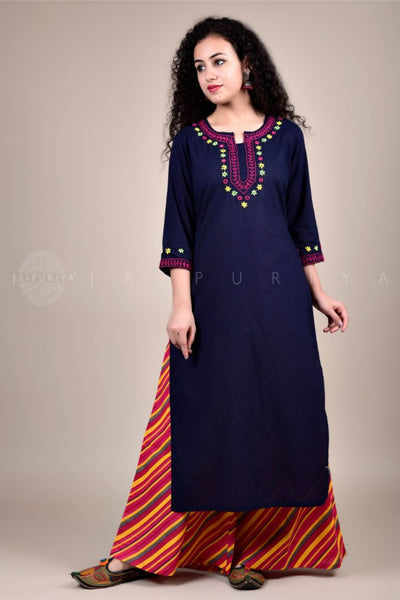 Charcoal Kutch Hand Embroidery Kurta