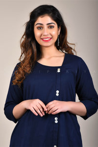 Dark Blue Side Buttons Kurta
