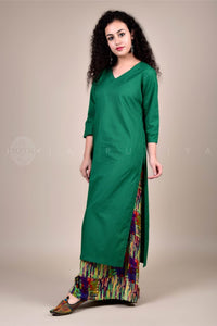 Bottle Green Kurta and Multicoloured Rayon Palazzo Set