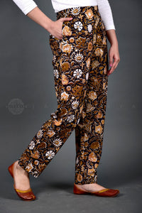 Black Yellow Hand Block Print Pants
