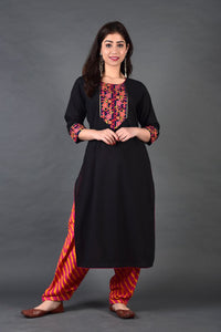Navy Rani Yoke Kurta Salwar Set with Dupatta