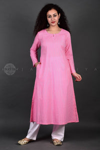 Pink Striped A-Line Kurta