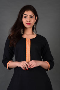 Black Yellow Yoke Kurta Leheriya Palazzo Set