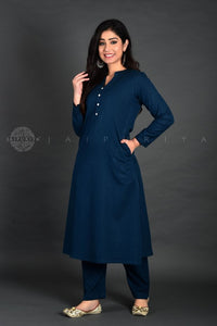 Peacock Collar Full Sleeves Kurta Pant Suit