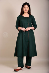 Dark Green Side Buttons Kurta
