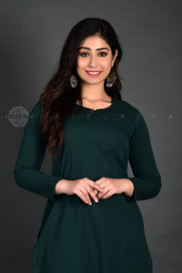 Dark Green Full Sleeves Kurta Pant Suit