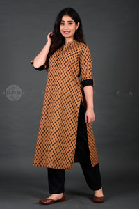 Ochre Jaipuri Booti Cuff and Collar Kurta