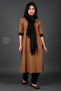 Ochre Jaipuri Booti Collar Kurta Salwar and Dupatta Set