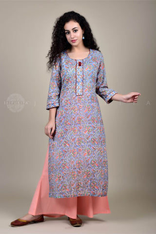Black Devi Kalamkari Sailor Collar Kurta