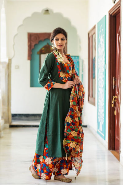 Midnight Red Floral Sailor Collar Kurta