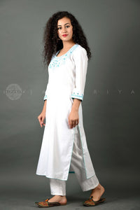 Unstitched Hand Embroidered Kurta FABRIC - Firozi Phool on White