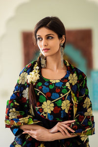 Peach Angarkha with Mughal Print Jacket Set