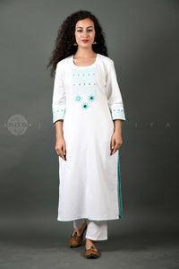 Hand Embroidered Kurta FABRIC - Firozi Sitara on White