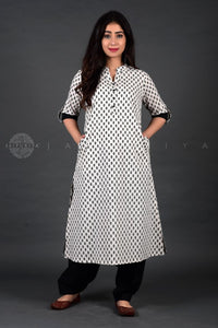 White Jaipuri Booti Collar Kurta Salwar and Dupatta Set