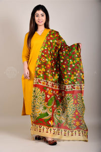 Mustard Kurta Pants and Parrot Kalamkari Dupatta Set