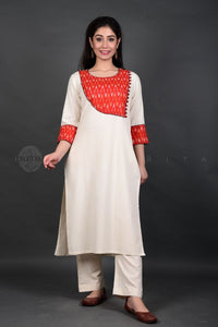 Ivory Red Ikat Side Yoke Kurta