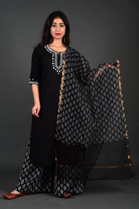 Black Hand Embroidered Kurta Palazzo Set with Dupatta