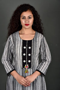 White and Black Yoke Kurta